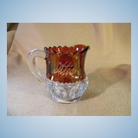 1914 Ruby Red Flash Souvenir Creamer King's Crown Pattern  EAPG