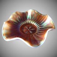Dugan Stippled Flower Carnival Glass Bowl