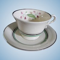 Set of 9 Syracuse China Coralbel Cups with Saucers