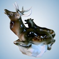 Royal Dux Large Wolf and Stag Ceramic Statue