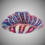 Beautiful Ribbon  Art Glass Small Bowl