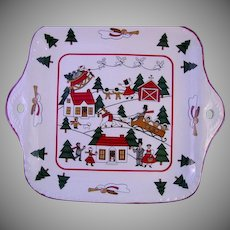 Christmas Village Square Platter by Mason's Ironstone