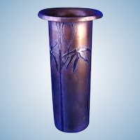 Heintz Art Bronze Vase With Sterling Silver Overlay