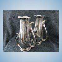 Vintage Pearl China Company Pair of Vases Platinum Rose Pattern