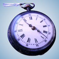 L.C. Cuivre Fancy  Pocket Watch  10 Jewels and Silver Case