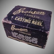 Old Bronson No. 1700 Casting Reel in Original Box with Papers