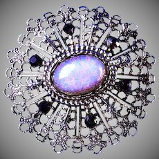 Opalescent Cabochon with Purple Diamond Cut Rhinestones Brooch