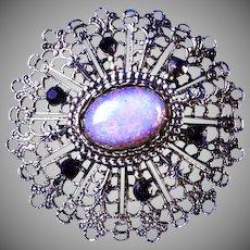 Opalescent Cabochon with Purple Diamond Cut Rhinestones Brooch