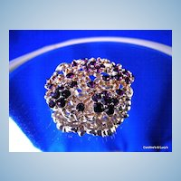 Pretty Deep Purple Rhinestone Brooch