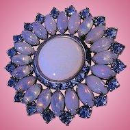 Opalescent Cabochon and Blue Diamond Cut Rhinestone Brooch