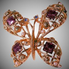 Beautiful Large Butterfly Brooch
