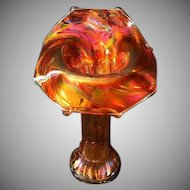 Westmoreland Thin Rib Jester's Hat Marigold Carnival Glass Vase