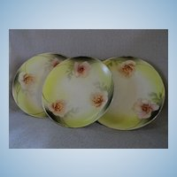 Three German Porcelain Desert Plate with Cherry Blossoms