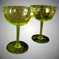 A Pair of Royal Benton Crystal Yellow Champagne Glasses