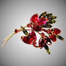 Exceptional Ruby Colored Brooch