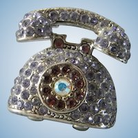 Lavender Rhinestone Telephone Brooch