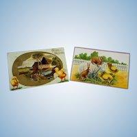 2 Antique Easter Cards Vintage 1916