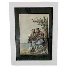 Post Civil War Confedatate Soldier & Wife Water Color Painting