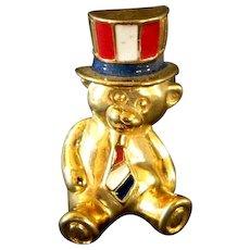 Patriotic Teddy Bear Pin or Tie Tac