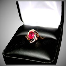 Ladies 10 K Rose Gold Diamond & Glass Filled Ruby Dinner Ring ** Size 7