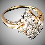 Lady's  10K Yellow Gold Dinner Ring with 33 Diamonds