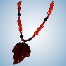 Lovely   Amber & Celluloid  20 Inch Necklace