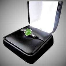 Green Jadeite Cabachon, Sterling Silver  Ring  .. Size 4