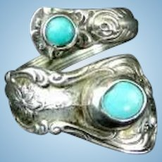 Towle  Silversmiths Old Master  Silver & Turquoise Spoon Ring