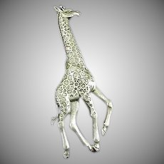 "Vintage Giraffe Pin Marked or Signed ""JJ"""