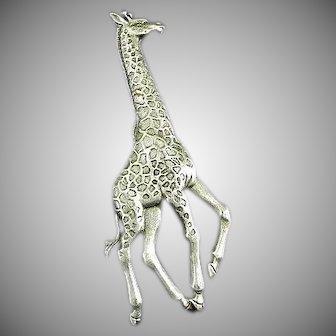 "Vintage Giraffe Pin Marked or Signed ""JJ"""
