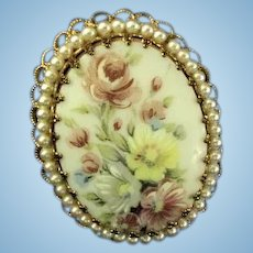 Beautiful Hand Painted w/ Roses Brooch made in W. Germany Broach