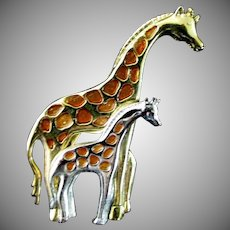 Marked Elegant Mother & Daughter Giraffe Pin or Broach