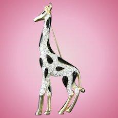 Rhinestone and Black Enamel Giraffe Pin or Broach