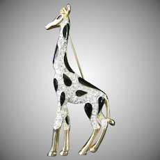 Rhinestone and Black Enamel Giraffe Pin or Broach