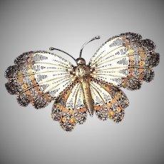 Amazing Butterfly Silver Filigree Brooch