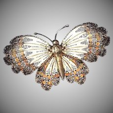 Amazing Butterfly Silver Filigree Brooch