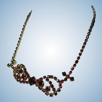 Ruby Red Rhinestone Necklace