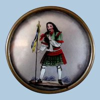 Snuff Box or Tin with Scotsman Figure ** Hand Painted