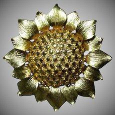 "Lovely Sun Flower Brooch by ""Gem-Craft"""