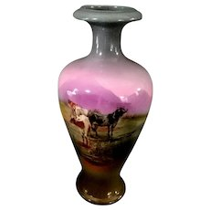 Gorgeous Royal Bayreuth Cabinet Vase with Drinking Cows