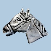 Handcrafted Silver Horse Brooch