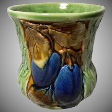 Plum Majolica Jar or Spooner