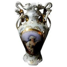 Royal Bayreuth Lady and Horse Victorian Vase