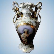 Royal Bayreuth Lady and Horse Victorian Vase