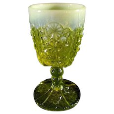 Button & Daisy Vaseline Opalescent Goblet  by L.G. Wright