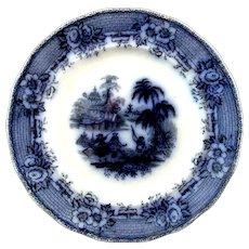 "Flow Blue ""Burmese"" Pattern Dinner Plate"
