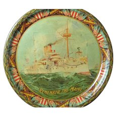 Remember the Maine metal Serving Tray