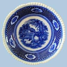 """Flow Blue Soup Bowl W. Adams """"Rural Scene"""""""
