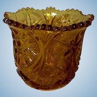 Vintage Amber Pressed Glass Spooner