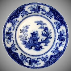 Exceptional Ridgway 1845 Flow Blue Peking Pattern Dinner Plate